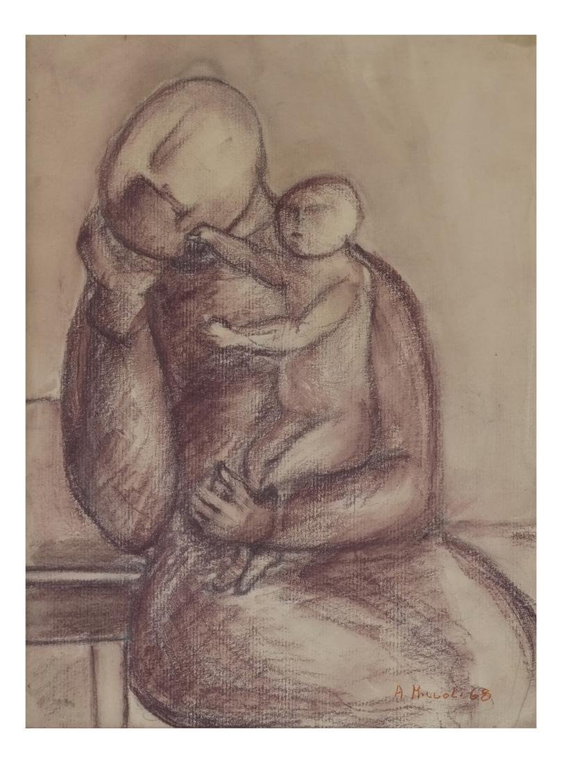 A. Miccoli Framed Drawing On Paper - Mother and Child