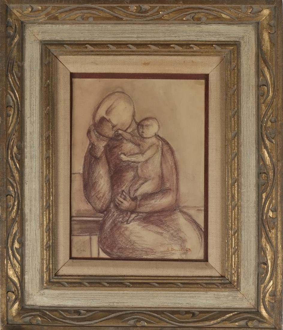 A. Miccoli Framed Drawing On Paper - Mother and Child - 2