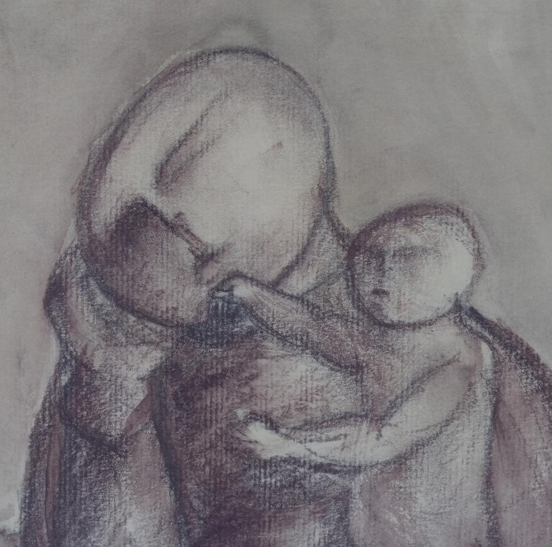 A. Miccoli Framed Drawing On Paper - Mother and Child - 3