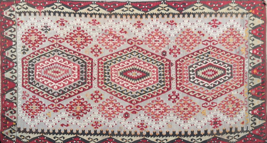 Central Asian Rug, Gray & Red