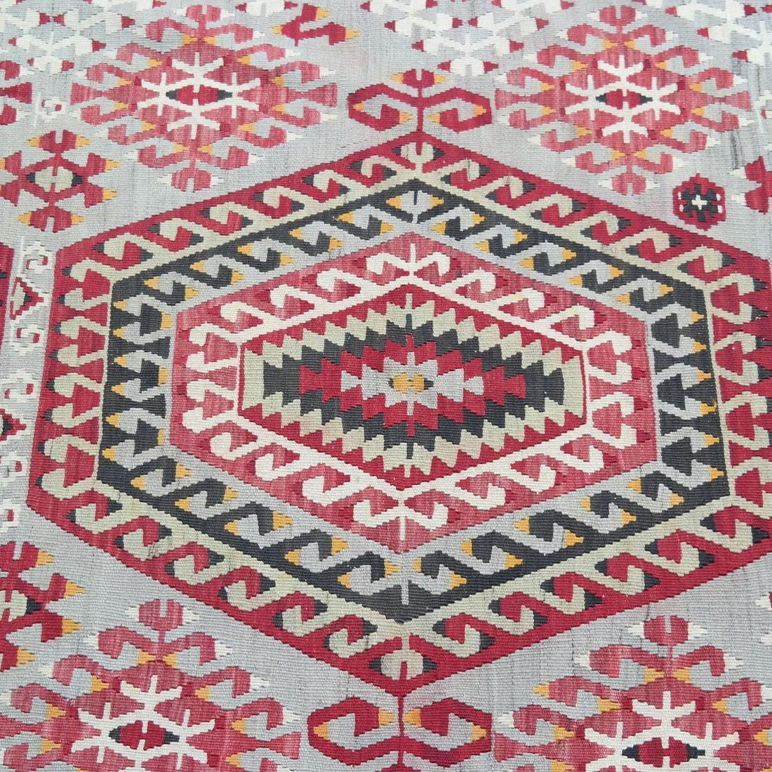 Central Asian Rug, Gray & Red - 2
