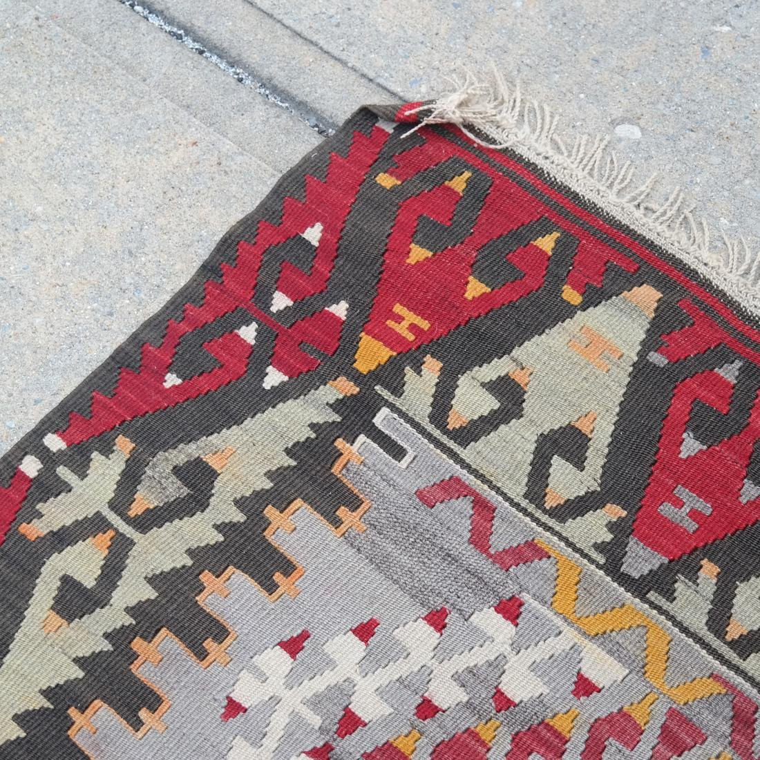 Central Asian Rug, Gray & Red - 3