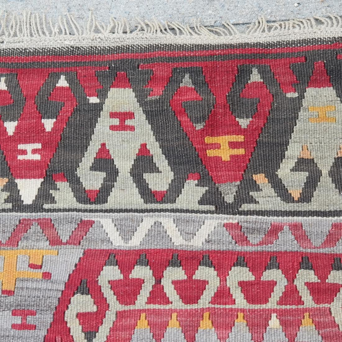 Central Asian Rug, Gray & Red - 4