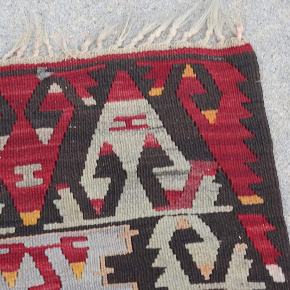 Central Asian Rug, Gray & Red - 5