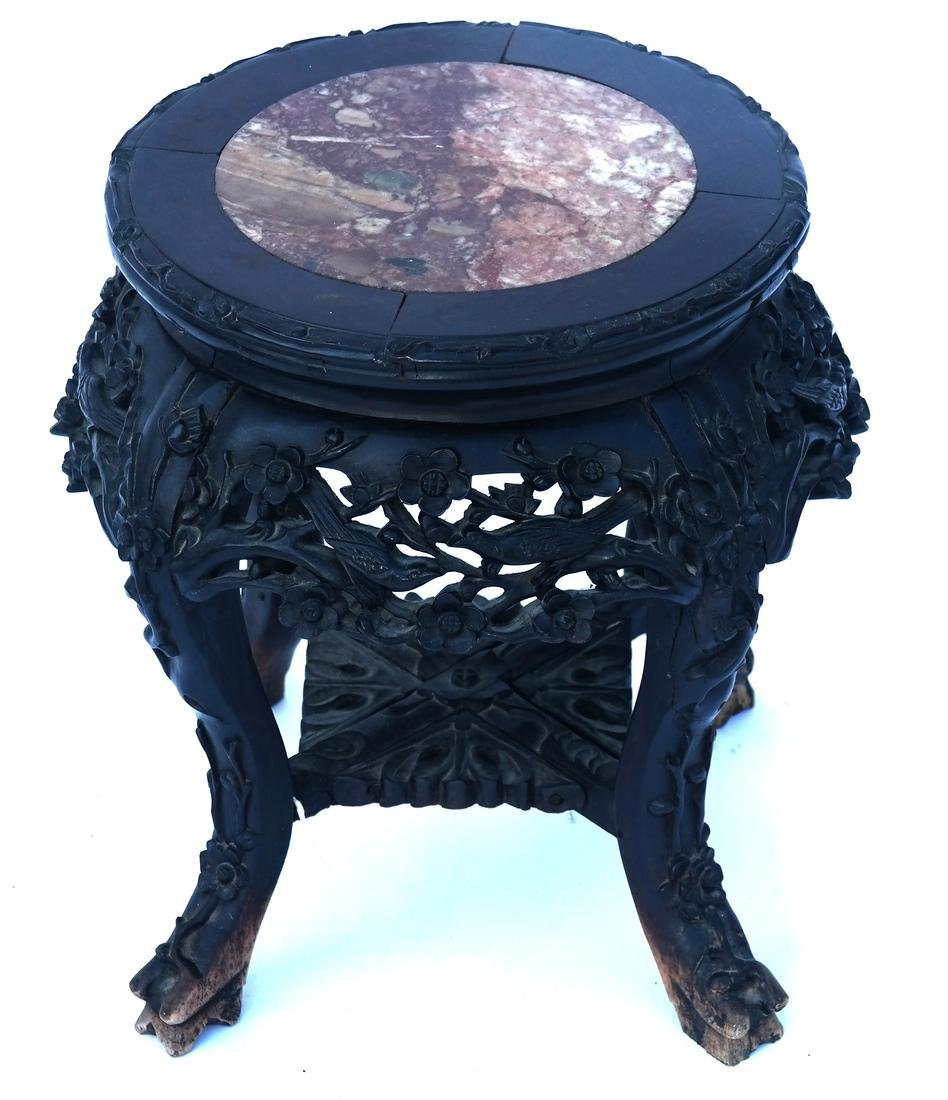 Chinese Ornate Marble Inset Tabouret