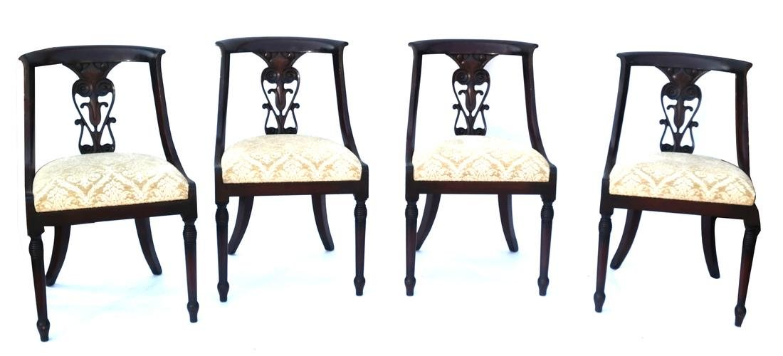 Set of Four Mahogany Side Chairs
