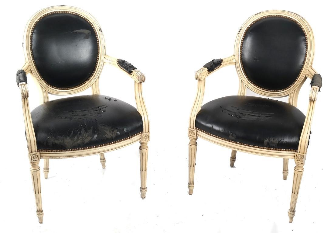 Two French-Style Creme Armchairs
