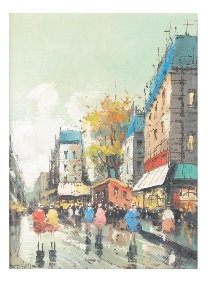 Di Leo Italian Street Scene Oil / Canvas