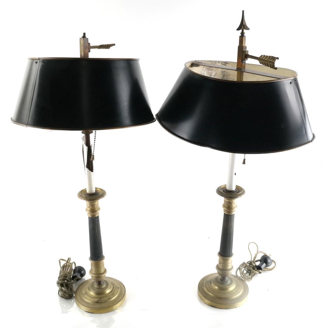 Pair of Empire Bronze Bouillotte Lamps