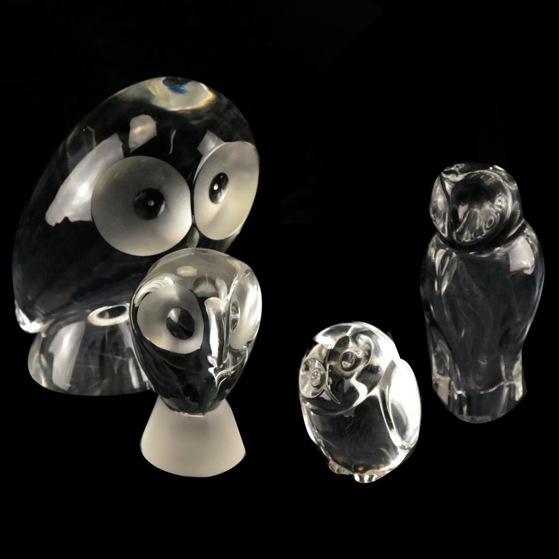 4 Glass Owls: Steuben, Baccarat, others