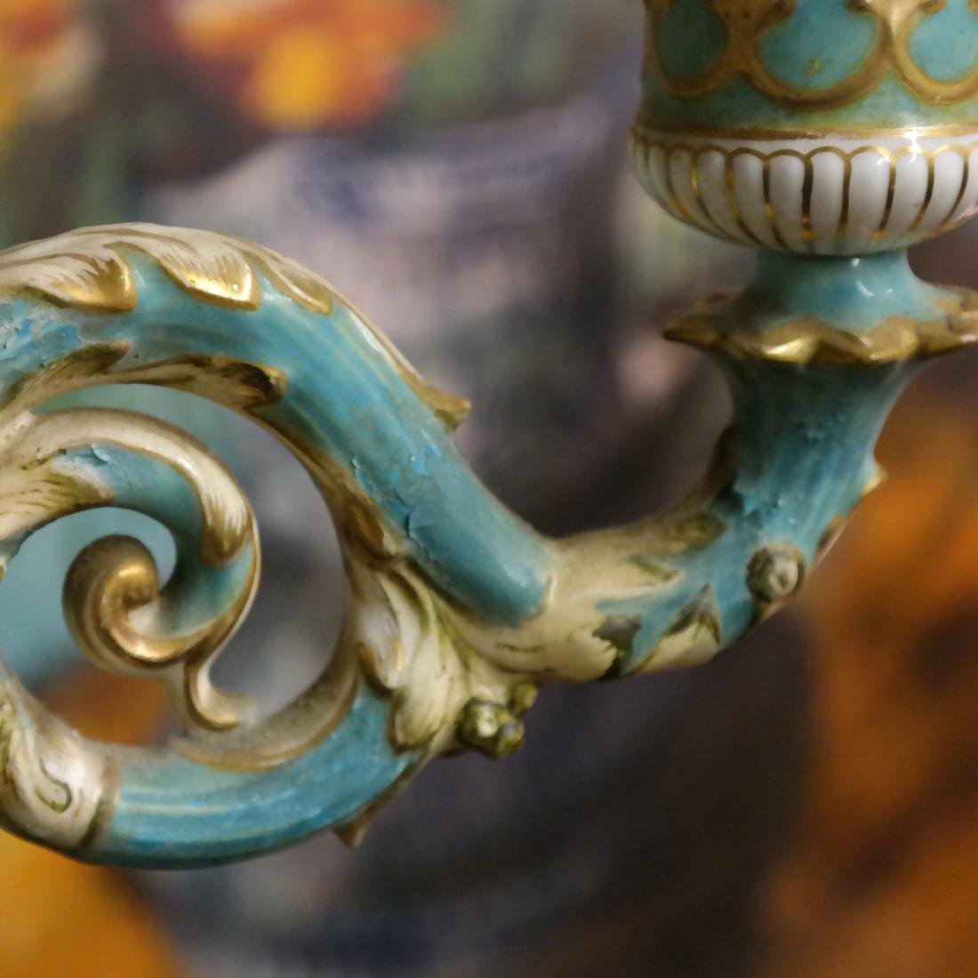 Pair Cherub Ceramic Candelabra - 10