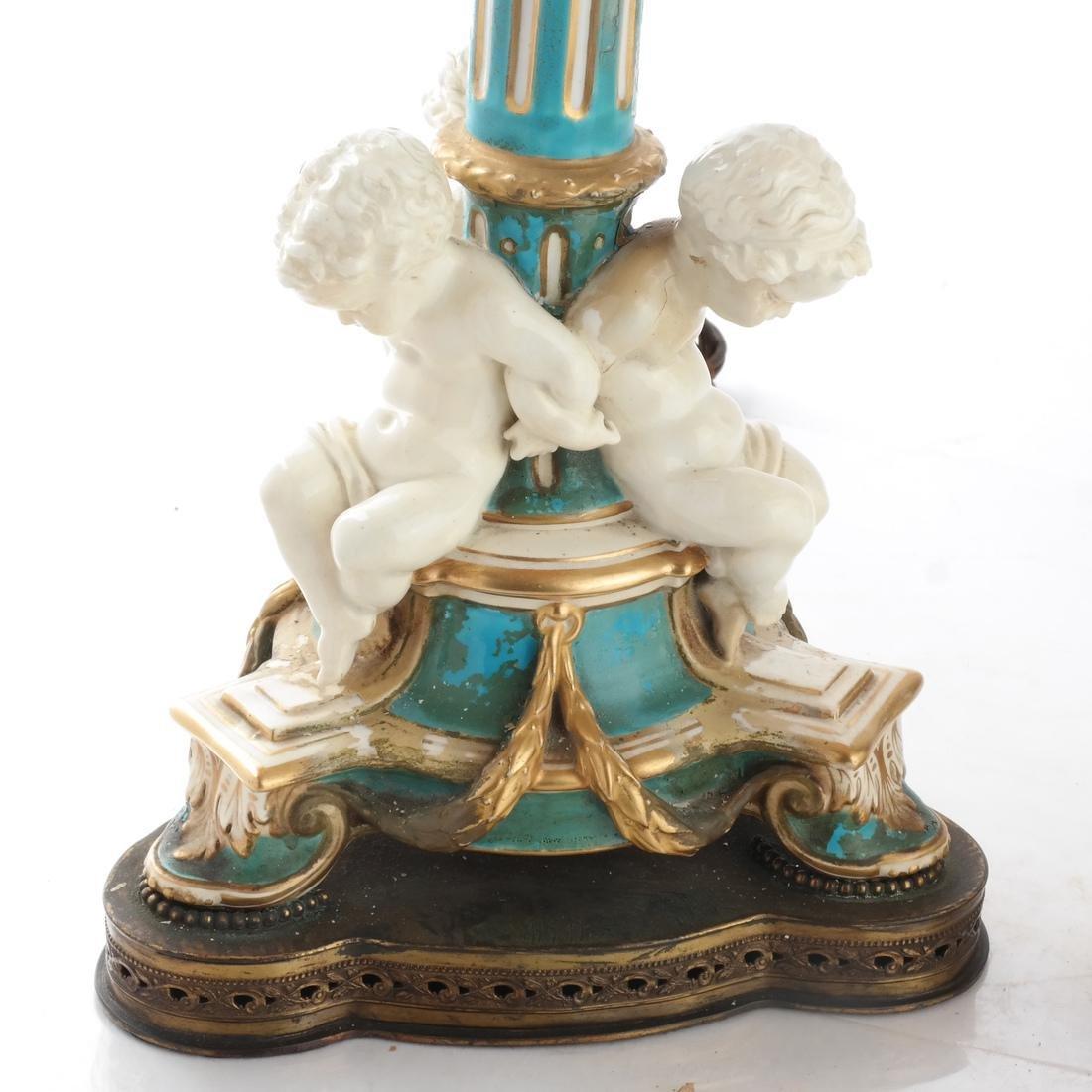 Pair Cherub Ceramic Candelabra - 2
