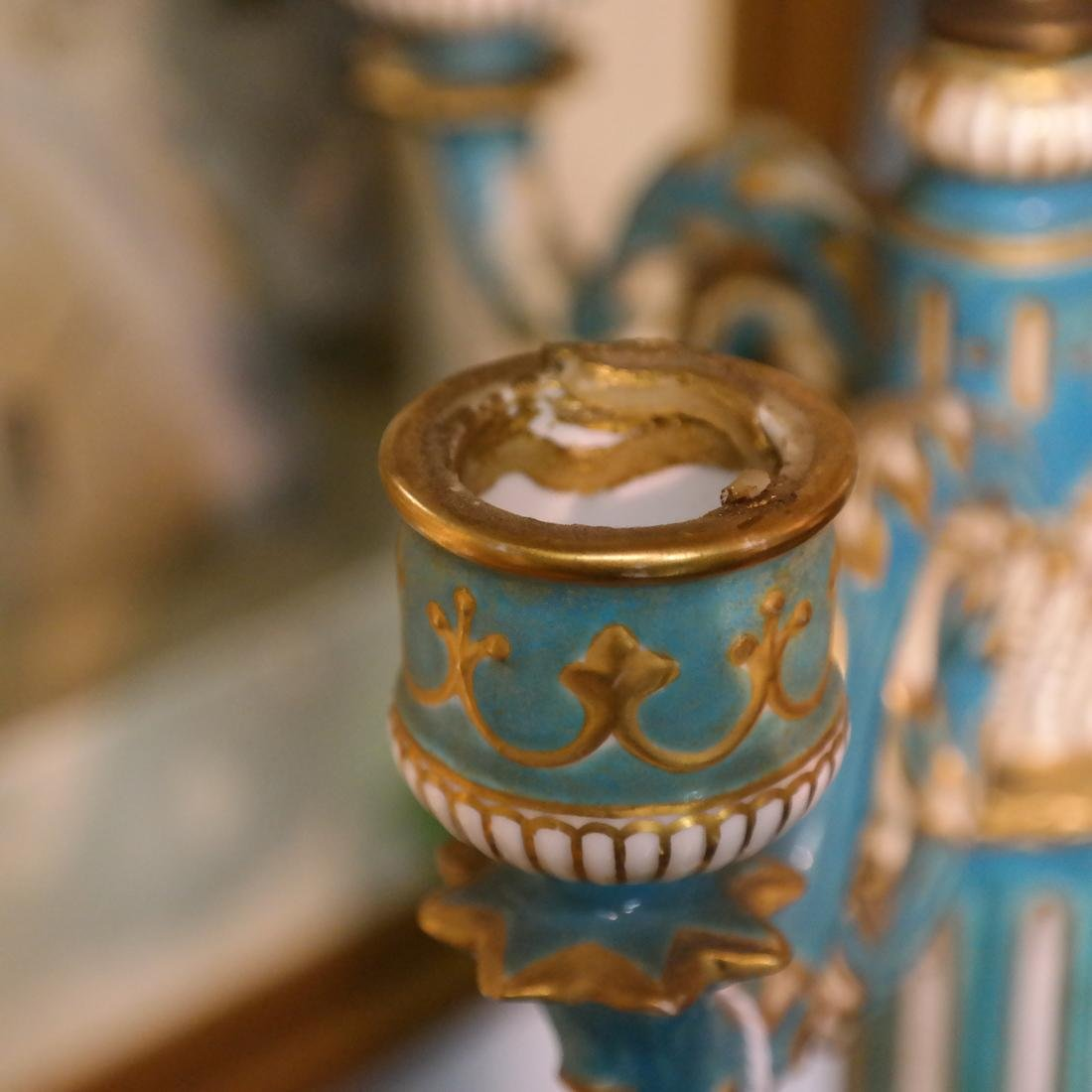 Pair Cherub Ceramic Candelabra - 4