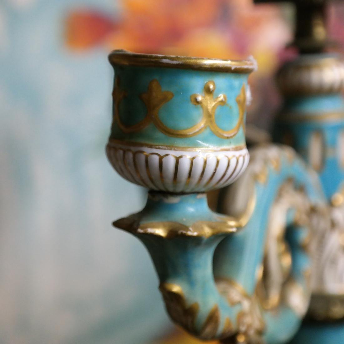 Pair Cherub Ceramic Candelabra - 5