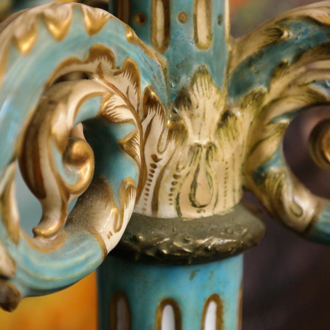 Pair Cherub Ceramic Candelabra - 7
