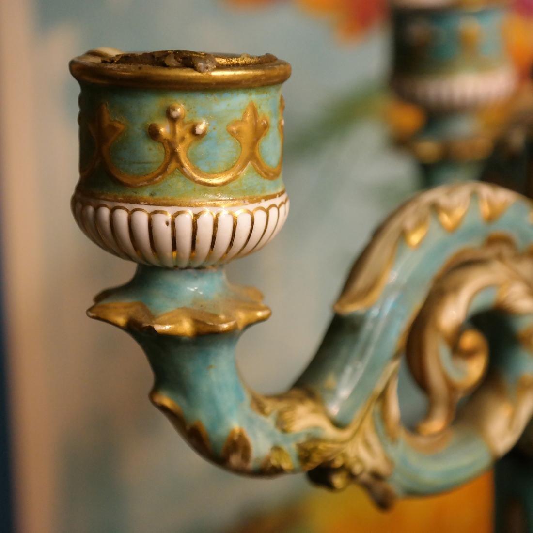 Pair Cherub Ceramic Candelabra - 8