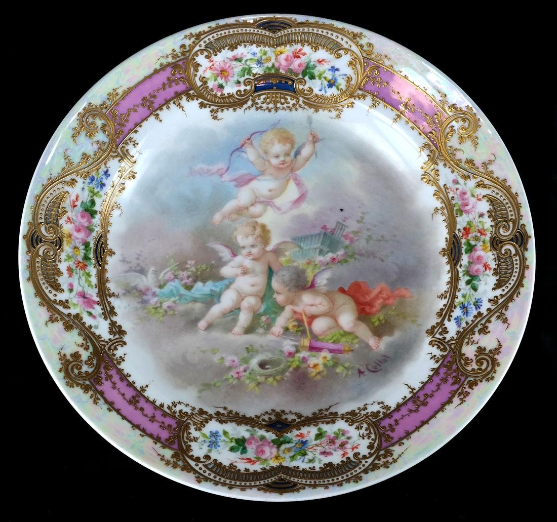 French Sevres-Style Cherub Ceramic Charger