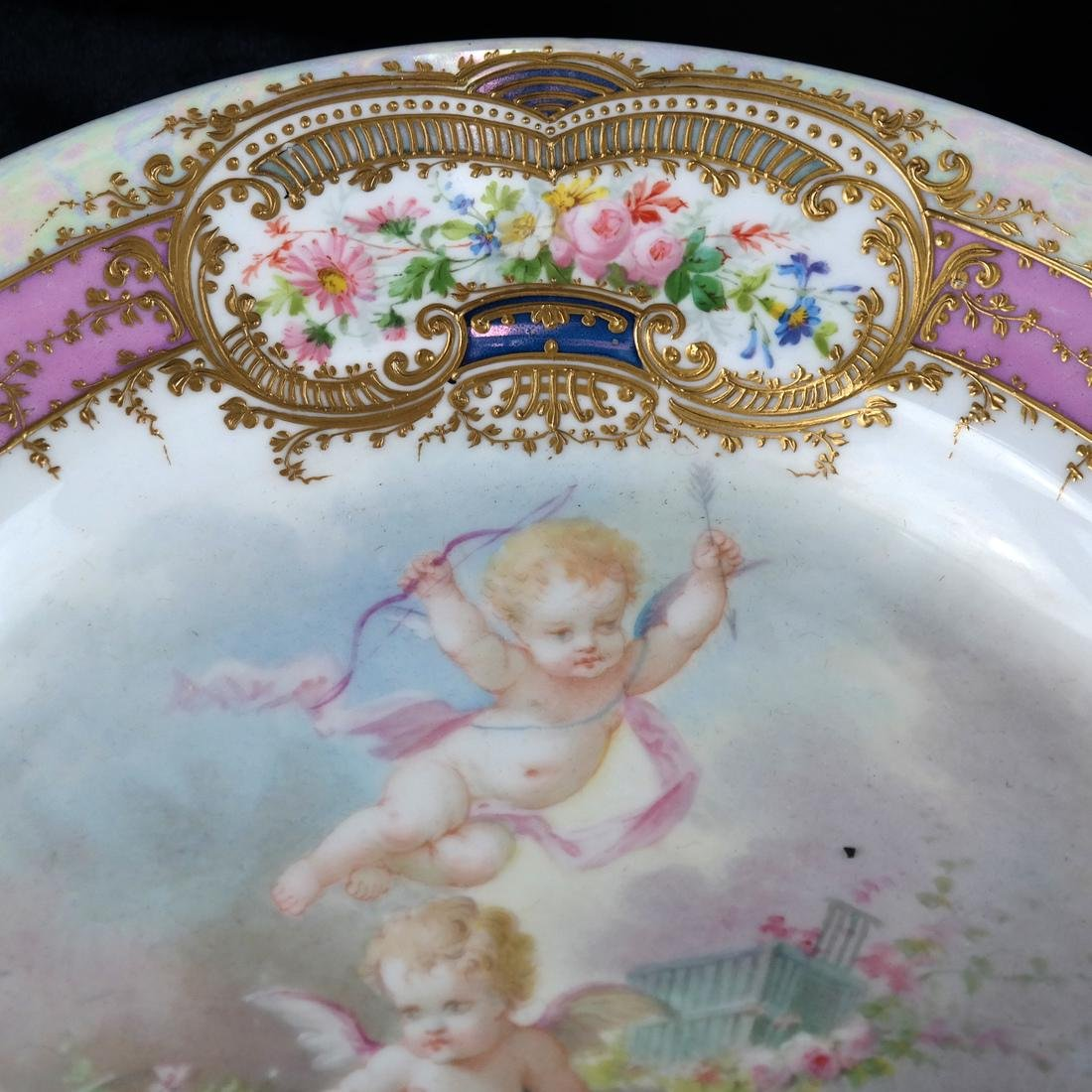 French Sevres-Style Cherub Ceramic Charger - 2