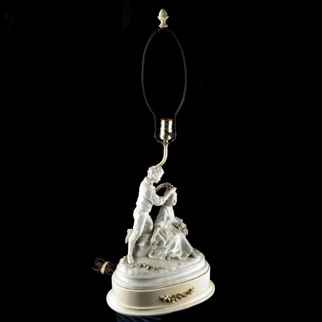 Bisque Porcelain Group Lamp - 2