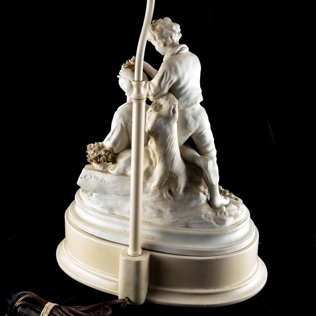 Bisque Porcelain Group Lamp - 6