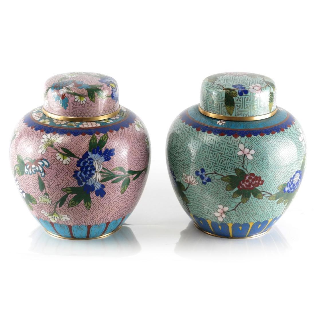 Pair Cloisonne Enamel Decorated Ginger Jars