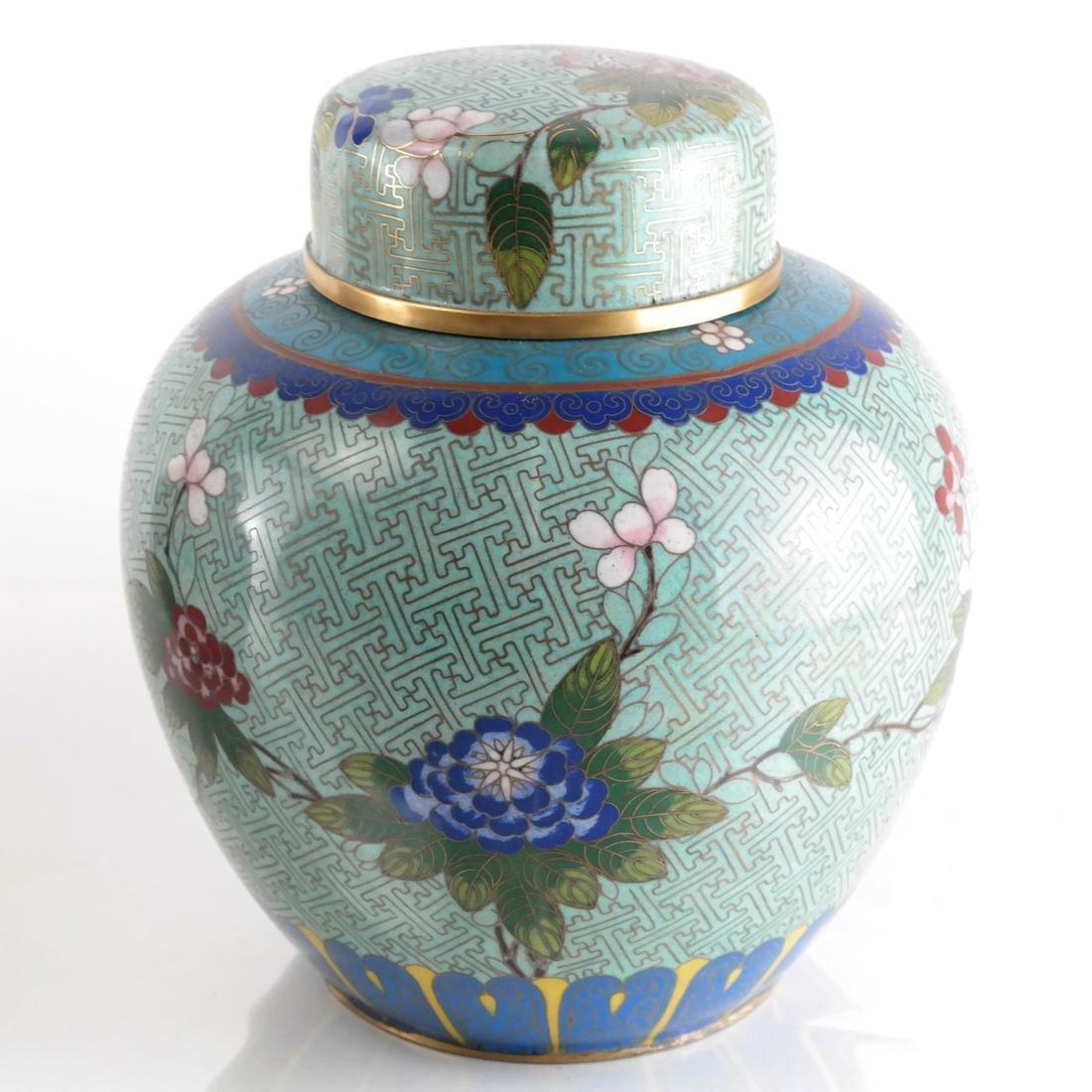 Pair Cloisonne Enamel Decorated Ginger Jars - 2