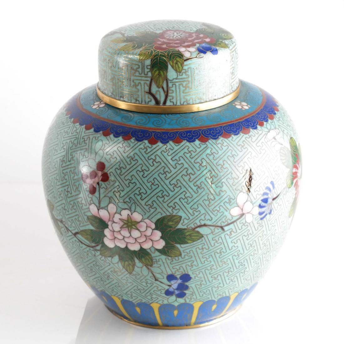 Pair Cloisonne Enamel Decorated Ginger Jars - 3