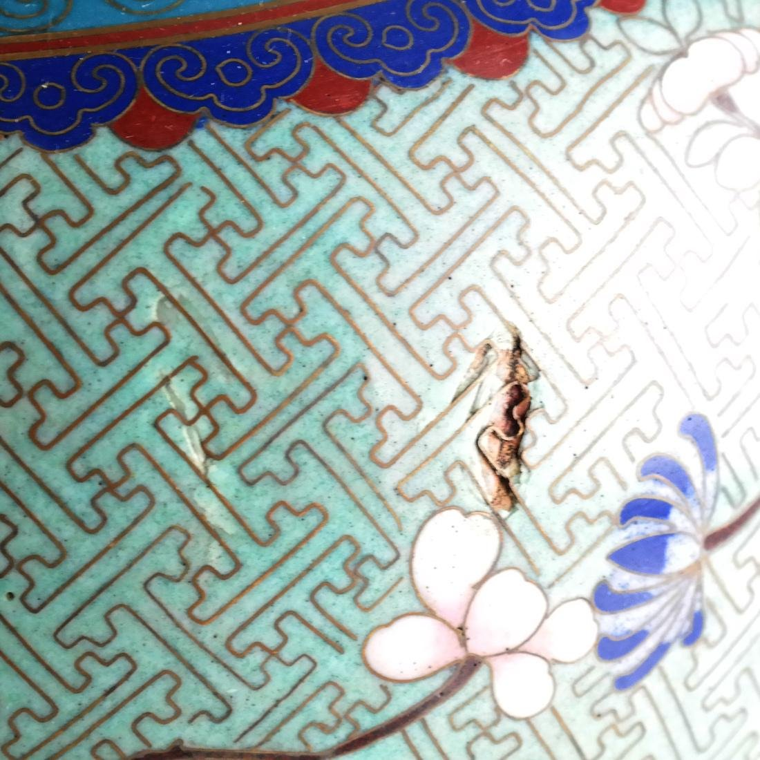 Pair Cloisonne Enamel Decorated Ginger Jars - 4