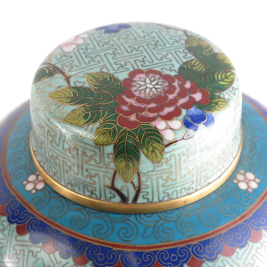 Pair Cloisonne Enamel Decorated Ginger Jars - 5
