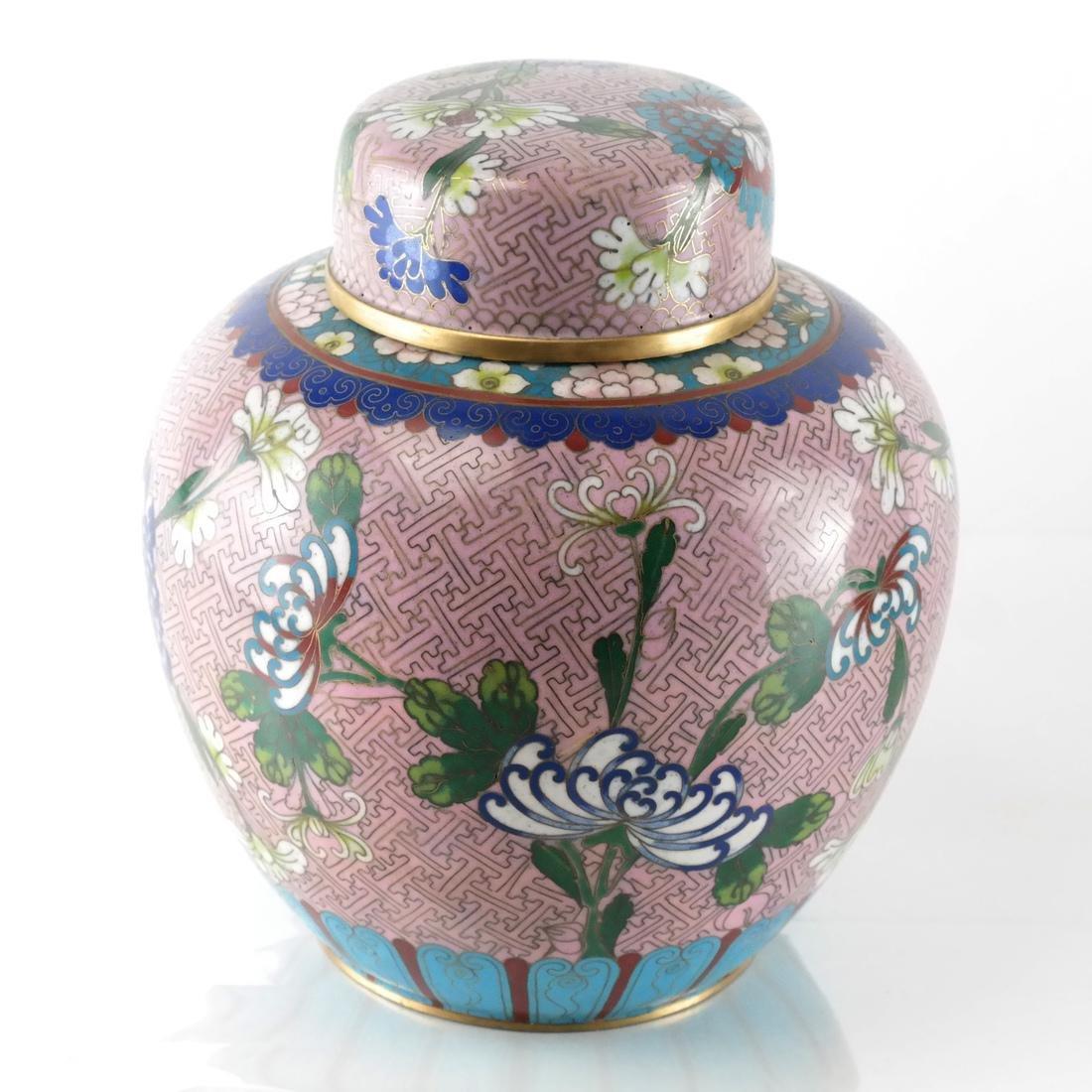 Pair Cloisonne Enamel Decorated Ginger Jars - 6