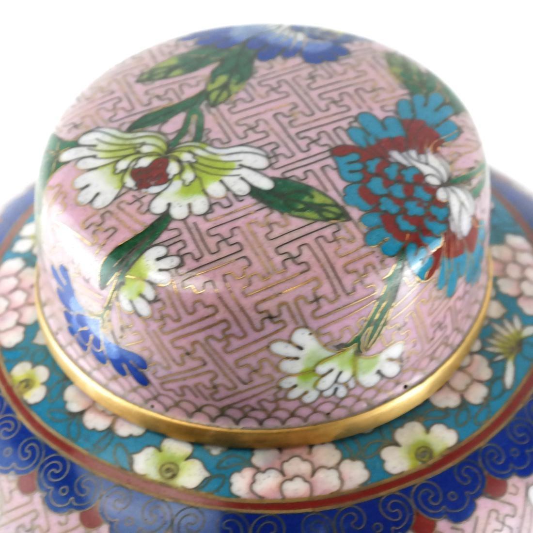 Pair Cloisonne Enamel Decorated Ginger Jars - 7