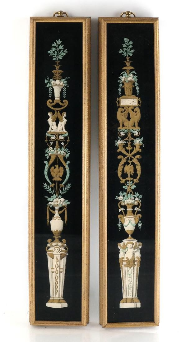 Pair of Decorated Glass Panels