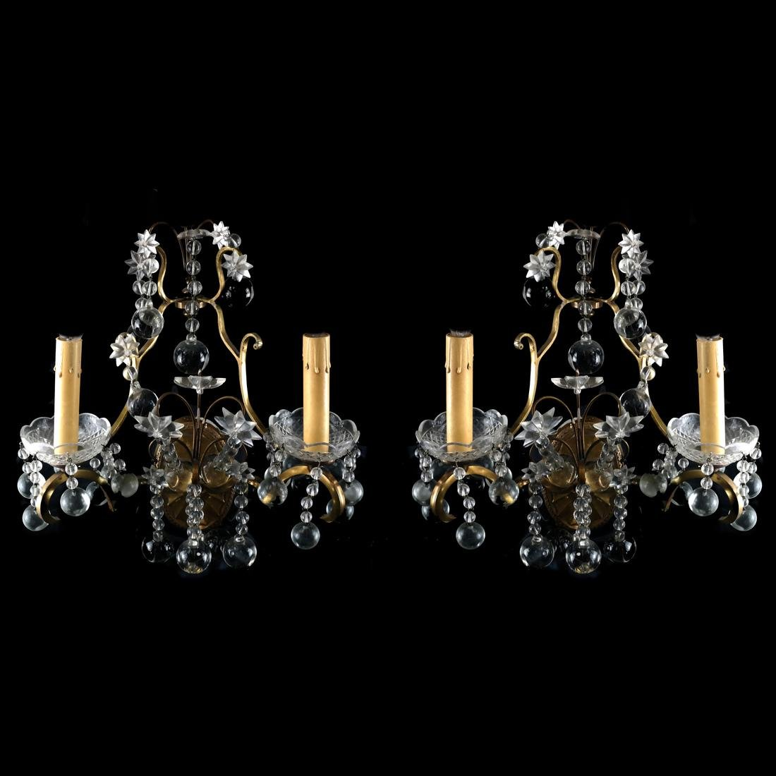 Pair of French Crystal and Bronze Sconces