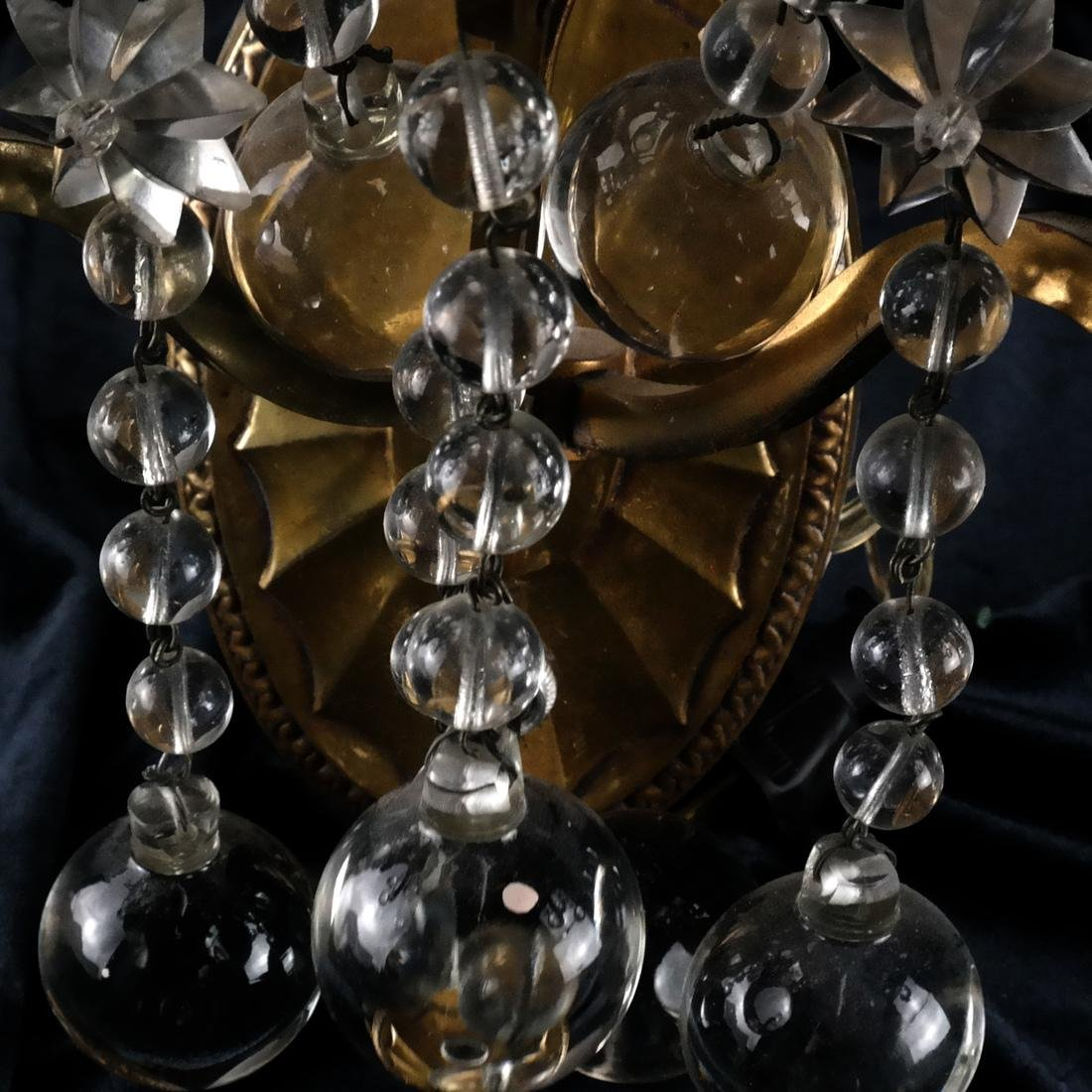 Pair of French Crystal and Bronze Sconces - 3