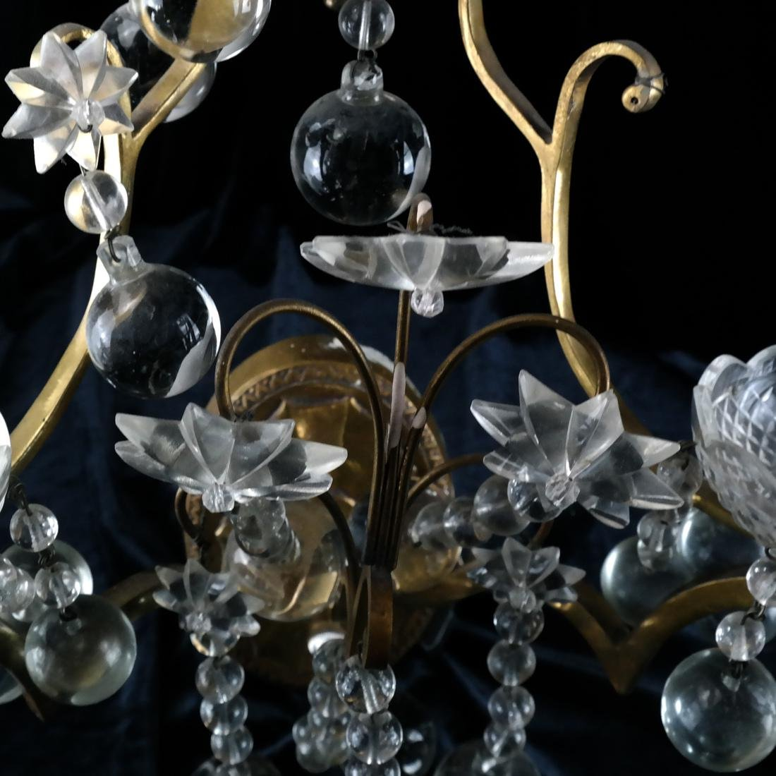 Pair of French Crystal and Bronze Sconces - 4