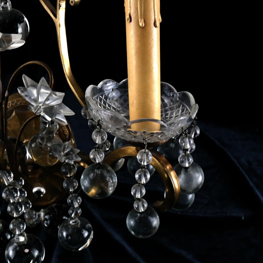Pair of French Crystal and Bronze Sconces - 5