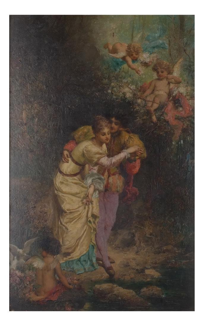 Allegorical Oil on Canvas: Lovers in a Garden