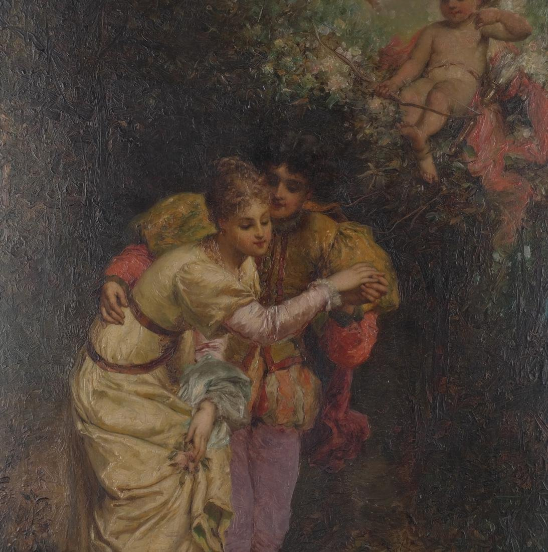 Allegorical Oil on Canvas: Lovers in a Garden - 3
