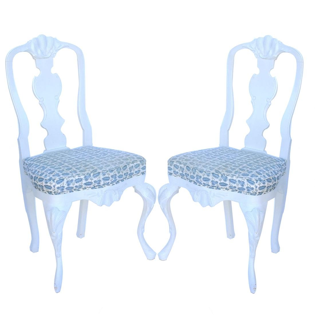 Pair of White Painted Chairs
