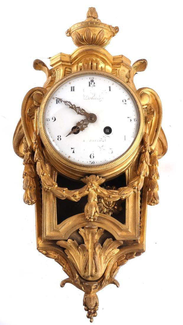 Antique French Bronze Dore Cartel Clock