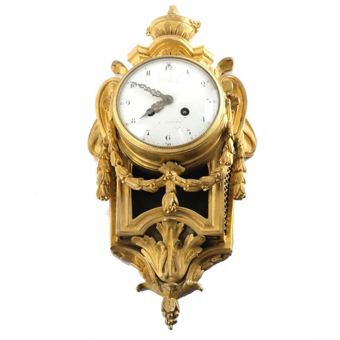 Antique French Bronze Dore Cartel Clock - 2