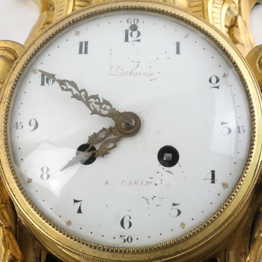 Antique French Bronze Dore Cartel Clock - 4