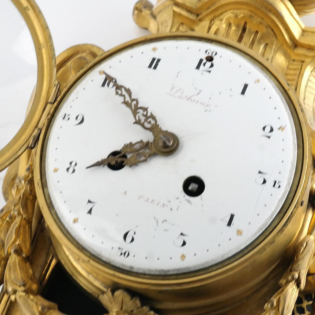 Antique French Bronze Dore Cartel Clock - 5