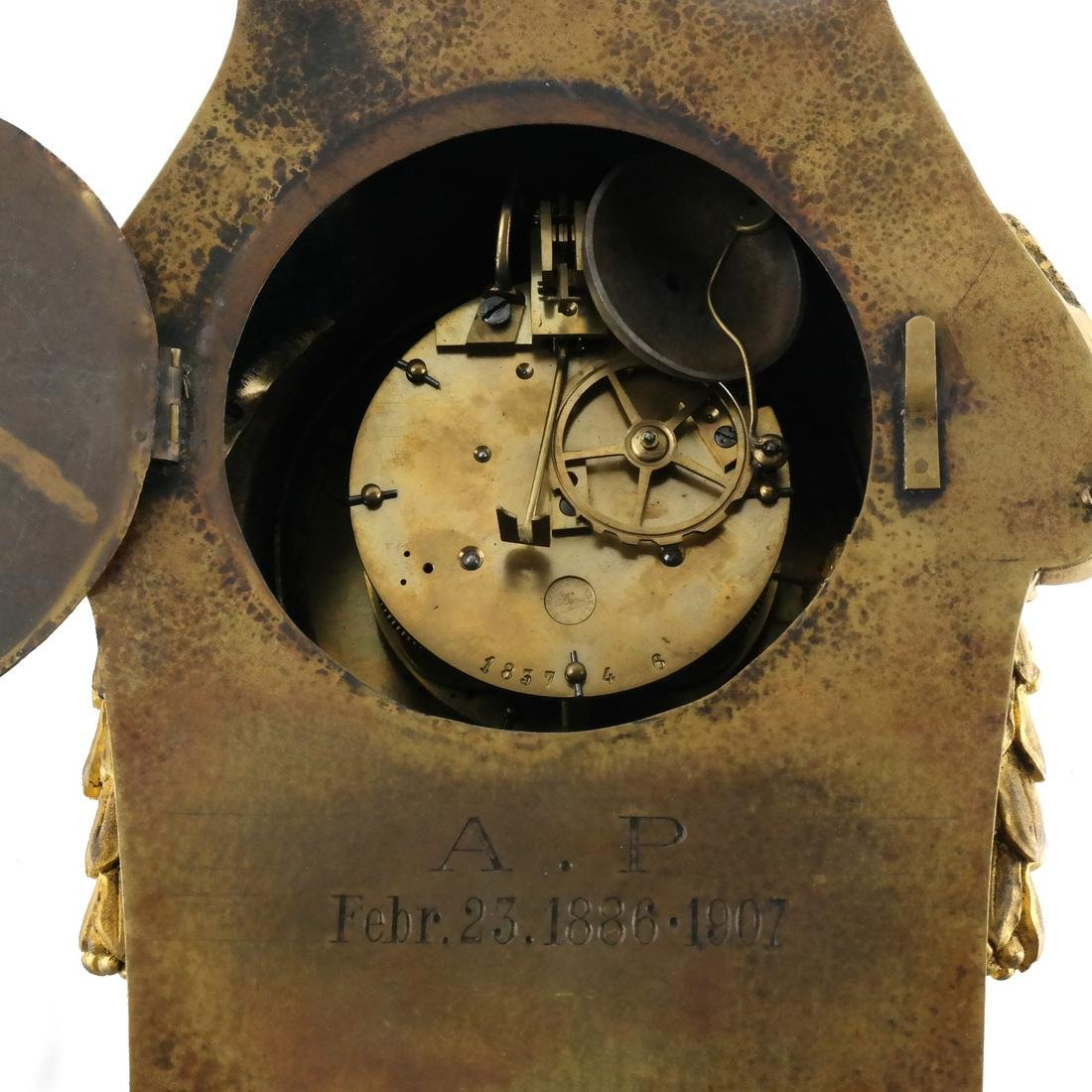 Antique French Bronze Dore Cartel Clock - 7