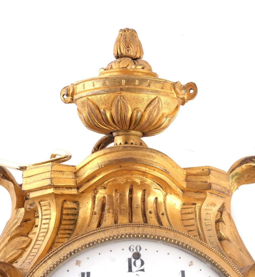 Antique French Bronze Dore Cartel Clock - 8