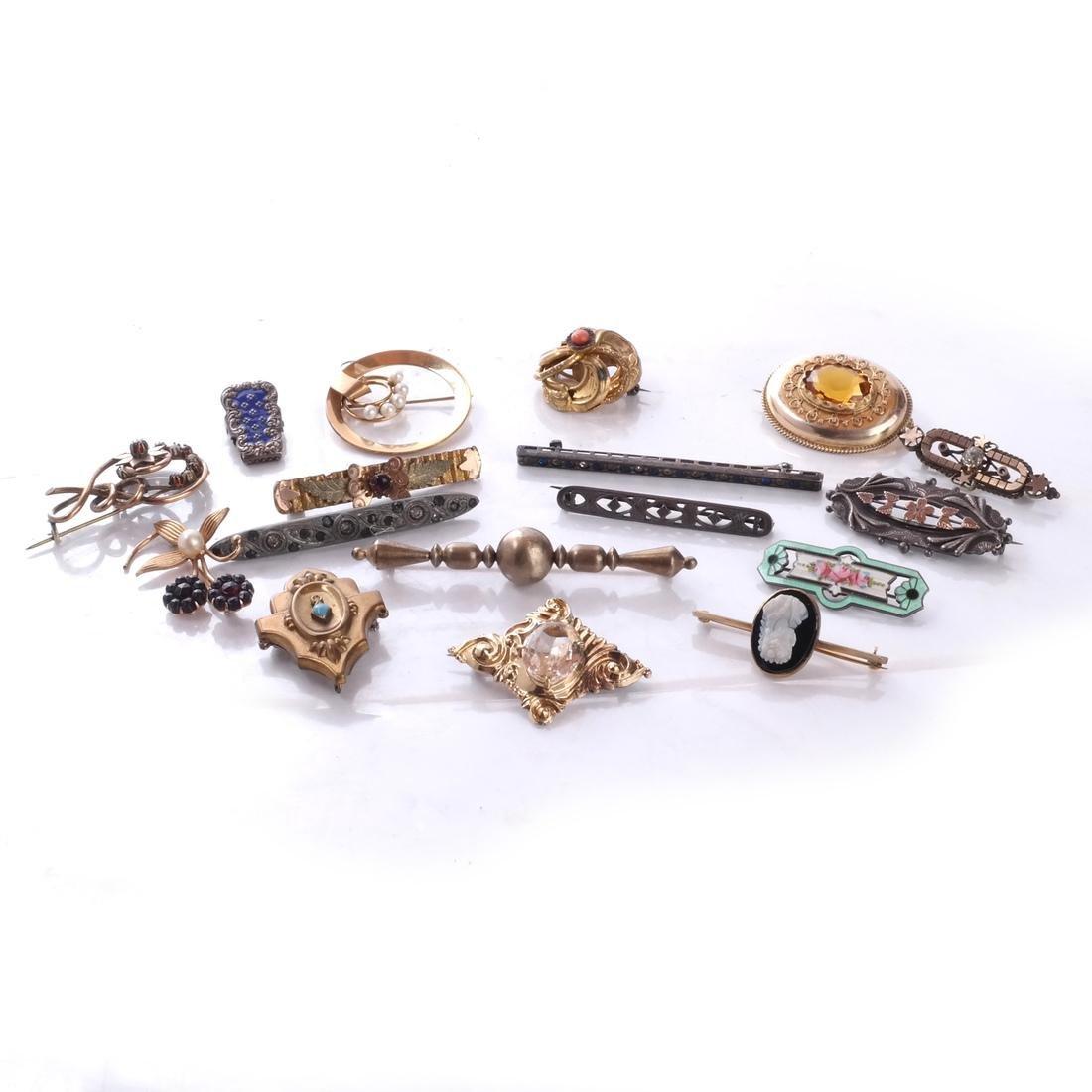 17 Mixed Pins: Victorian, Art Deco, more