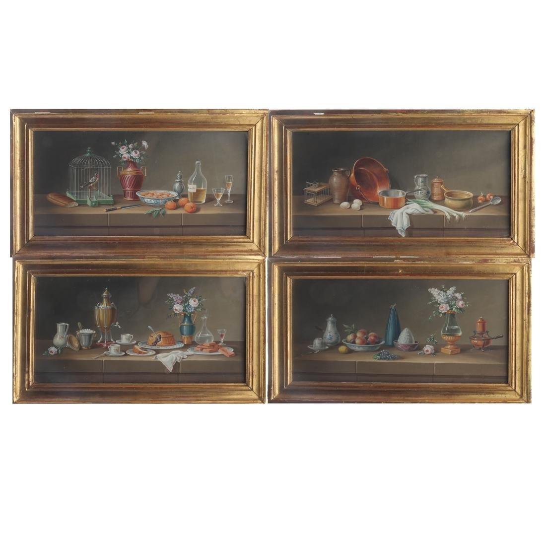 Set of Four Still Lifes: Watercolors