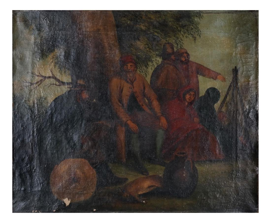 Camp Scene with Figures, Oil on Canvas