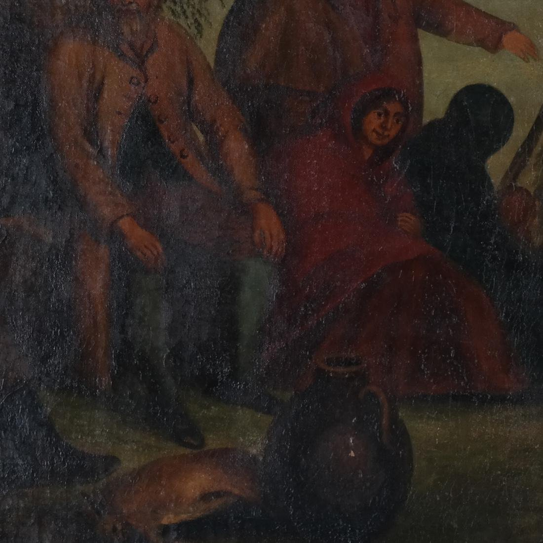 Camp Scene with Figures, Oil on Canvas - 2