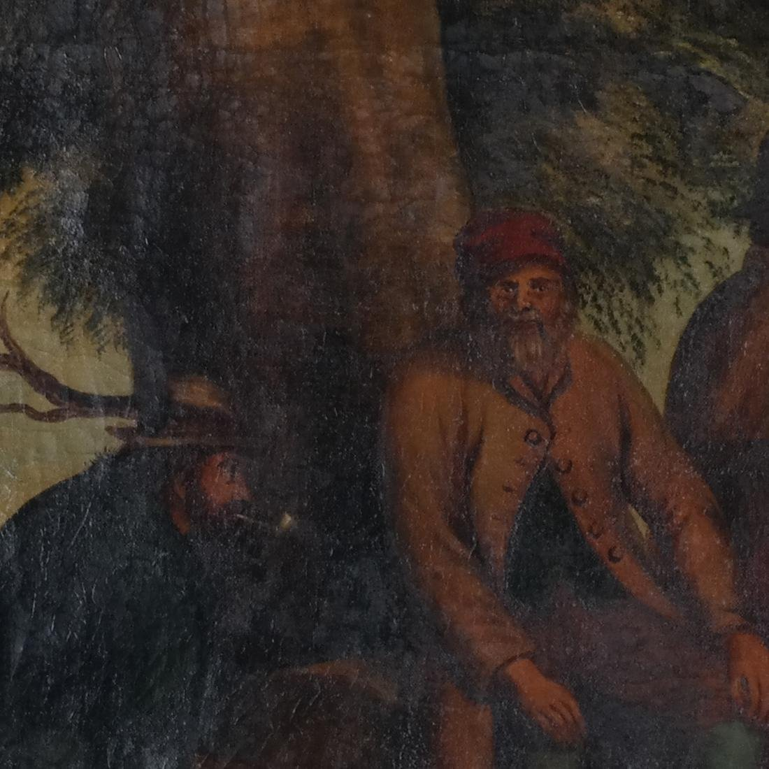 Camp Scene with Figures, Oil on Canvas - 3